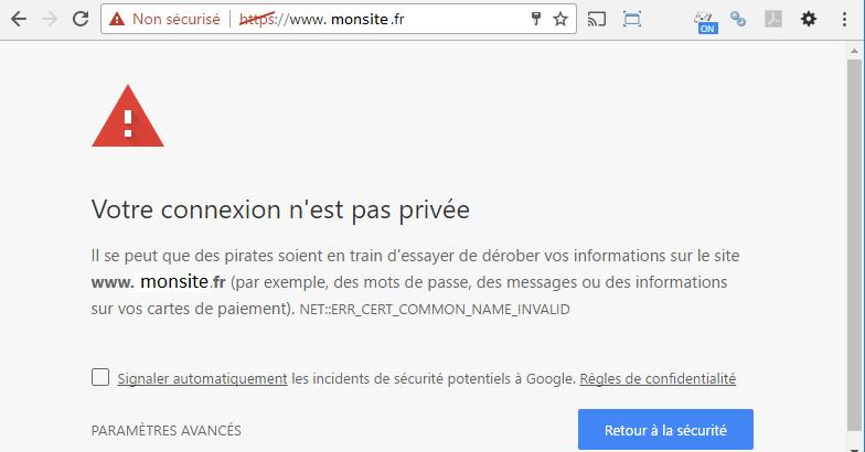 erreur d'accés HTTPS non sécurisé