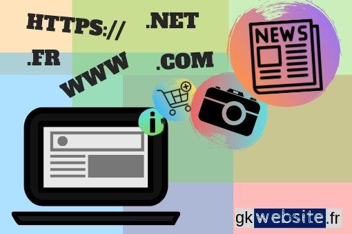 Infographie gkwebsite.fr différents types de site internet